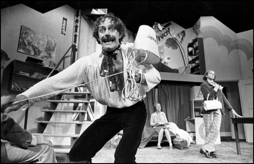 "Actor Barry Otto performing in ""Black Comedy"" at the Nimrod Theatre, Sydney - 1978"