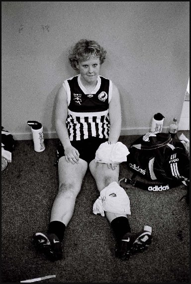 Injured female footballer, Port Adelaide - c.2002