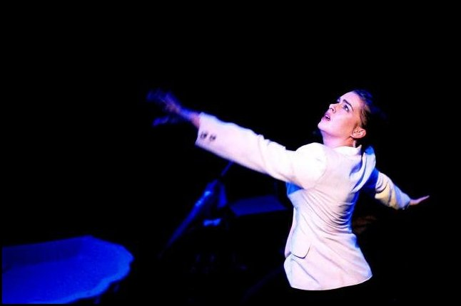 "Pippa Grandison in full flight in ""Tragedy a Tragedy"" by Hair of the Dog Theatre Company"
