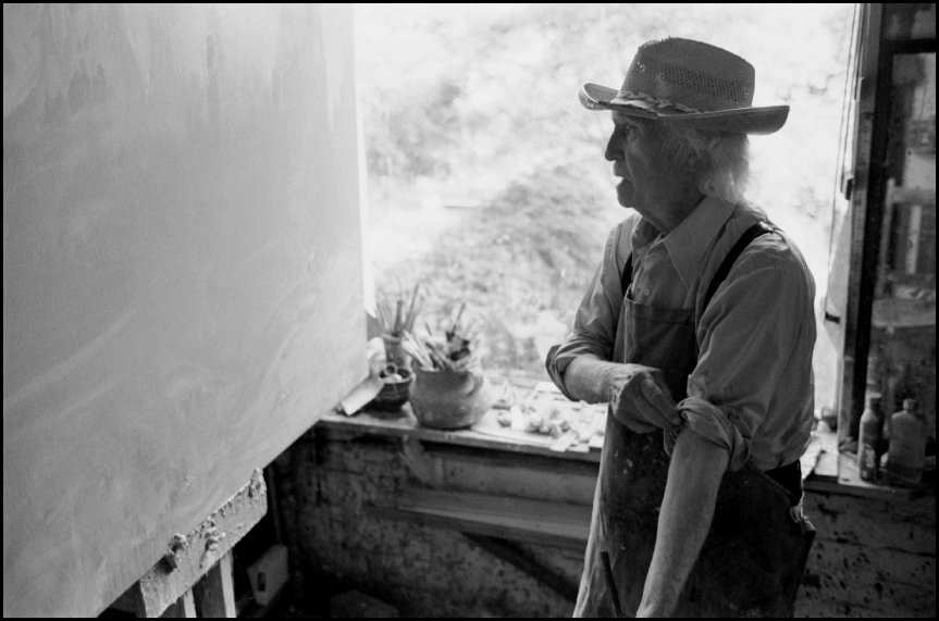 Artist Lloyd Rees in his Northwood Sydney studio - 1982