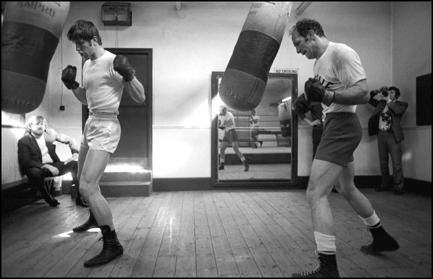 Heavyweight boxer Henry Cooper (R) with sparring partner Hampstead London - 1970