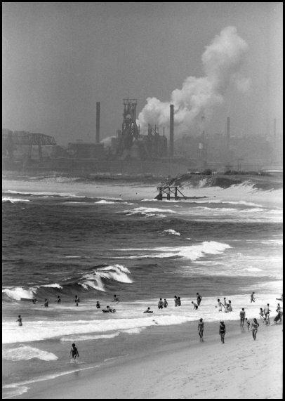 Wollongong Beach and Port Kembla steel mill c.1966