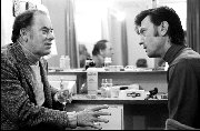 Actor John Ireland (1914 - 1992) and Laurence Harvey  (1928 - 1973) backstage West End, London - 1971